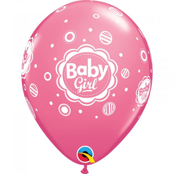 Latex Balloons Baby Girl Dots (Pack of 6)