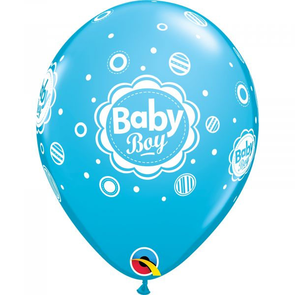 Latex Balloons Baby Boy Dots (Pack of 6)