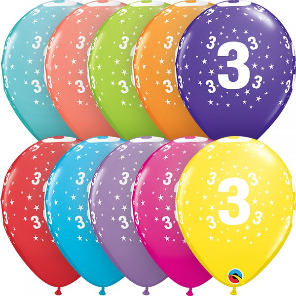 Latex Balloons Age 3 (Pack of 6)