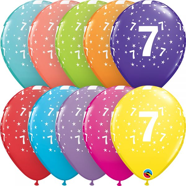 Latex Balloons Age 7 (Pack of 6)