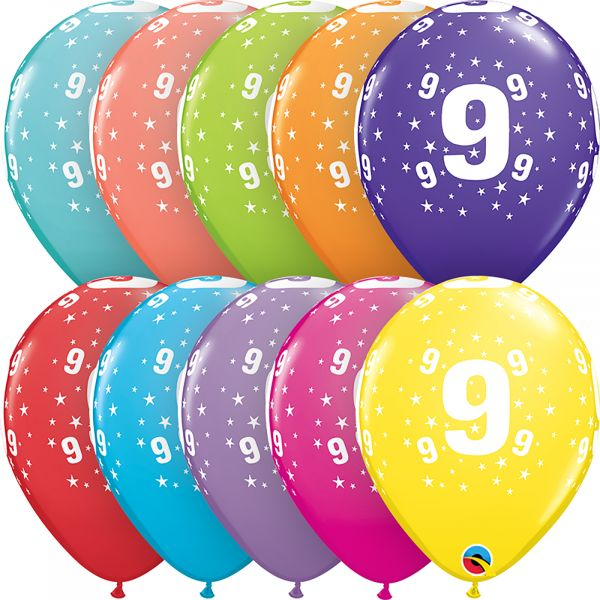 Latex Balloons Age 9 (Pack of 6)