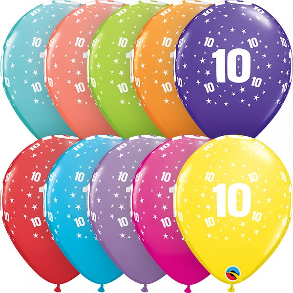 Latex Balloons Age 10 (Pack of 6)