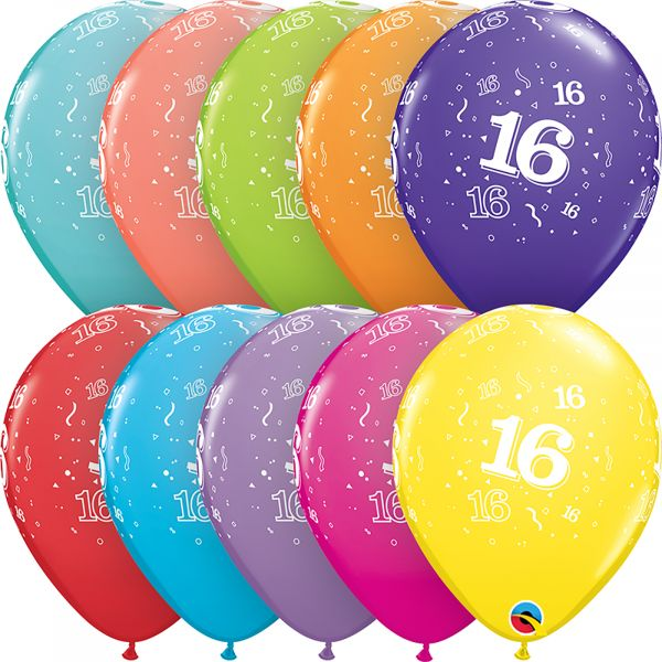 Latex Balloons Age 16 (Pack of 6)