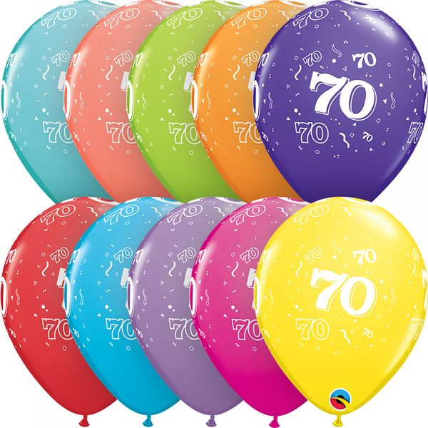 Latex Balloons Age 70 (Pack of 6)