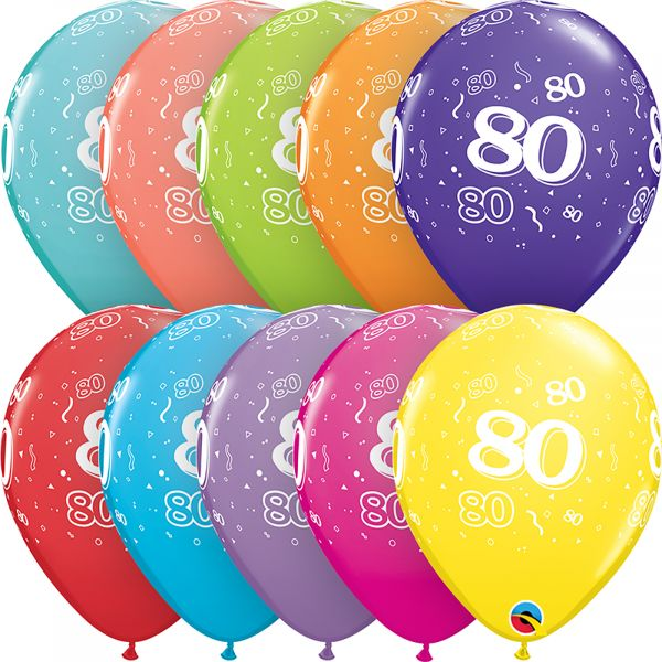 Latex Balloons Age 80 (Pack of 6)
