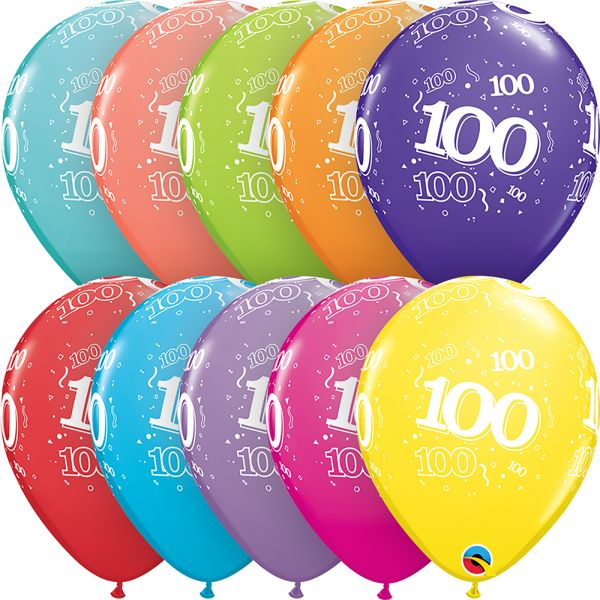 Latex Balloons Age 100 (Pack of 6)