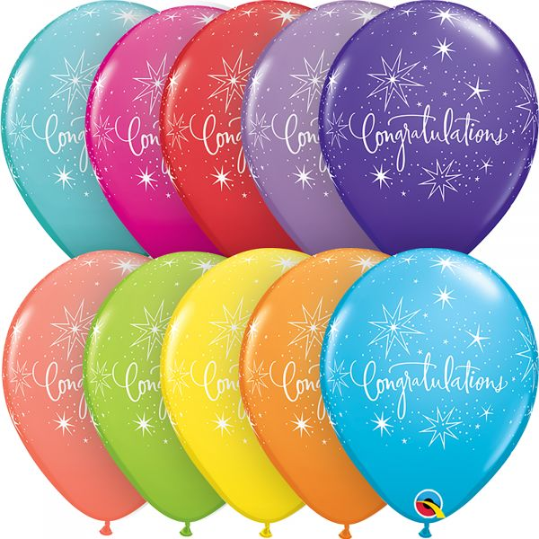 Latex Balloons Congratulations (Pack of 6)