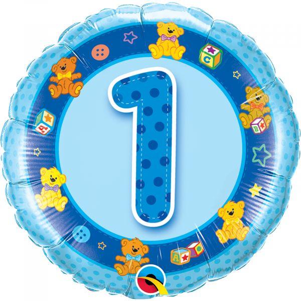 Age 1 Blue Teddies Balloon