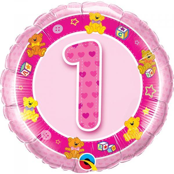 Age 1 Pink Teddies Balloon
