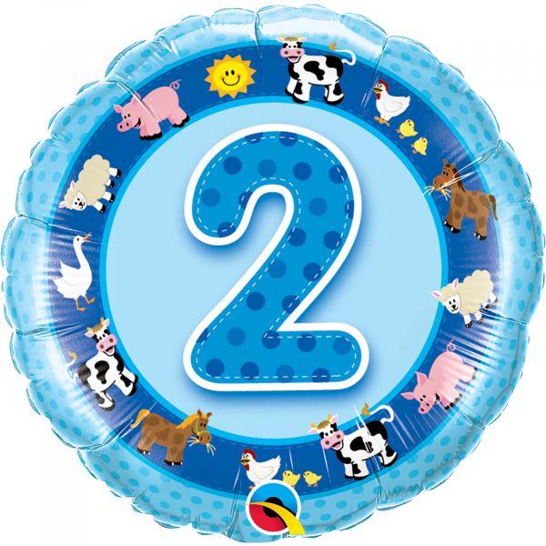Age 2 Blue Farm Animals Balloon