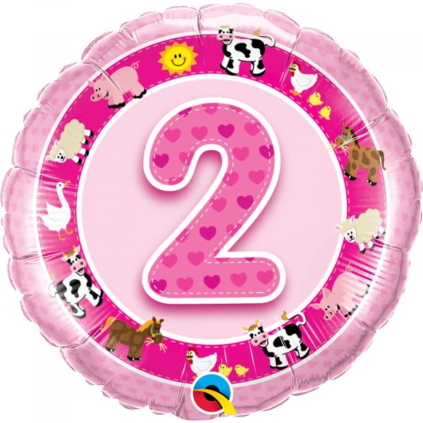Age 2 Pink Farm Animals Balloon