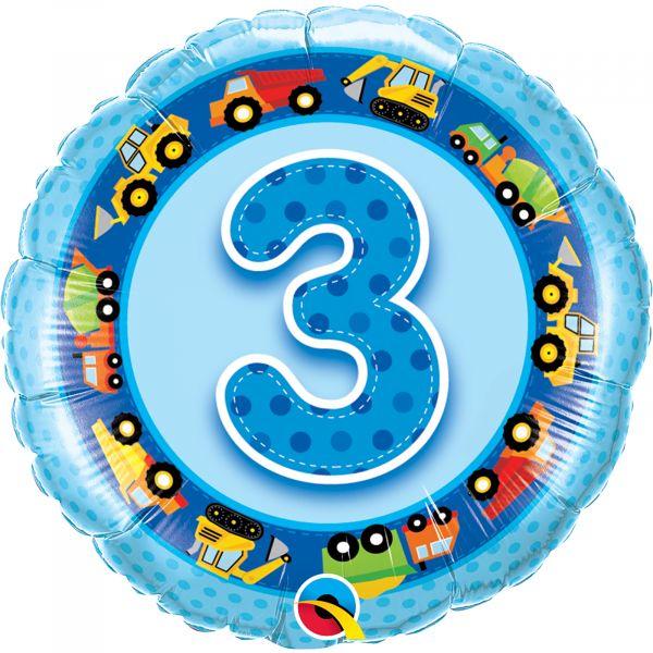Age 3 Blue Trucks Diggers Balloon