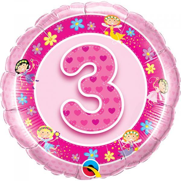 Age 3 Pink Fairies Balloon