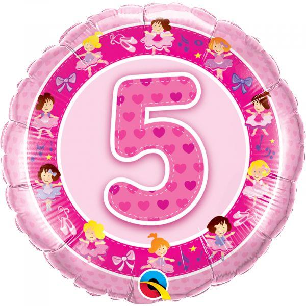 Age 5 Pink Ballerinas Balloon