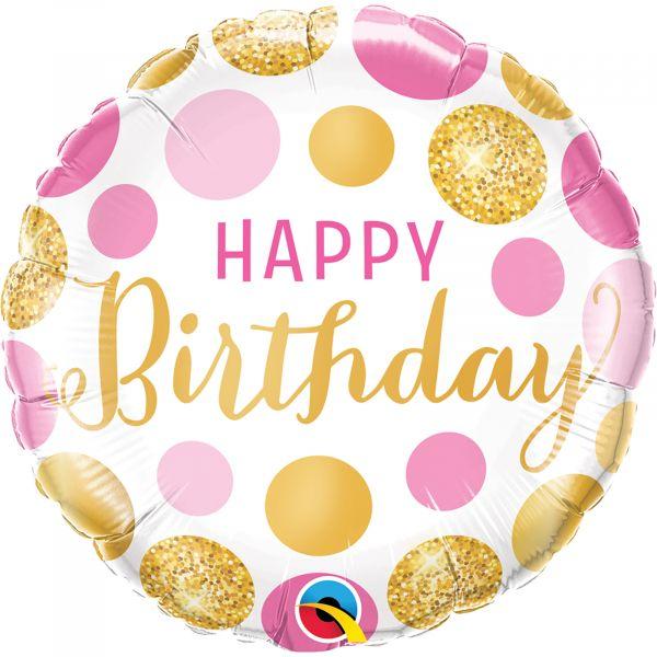 Birthday Pink  Gold Dots Balloon