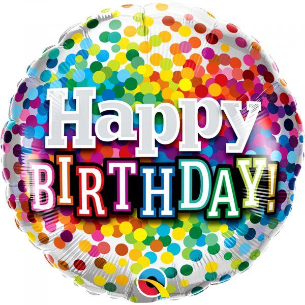 Birthday Rainbow Confetti Balloon