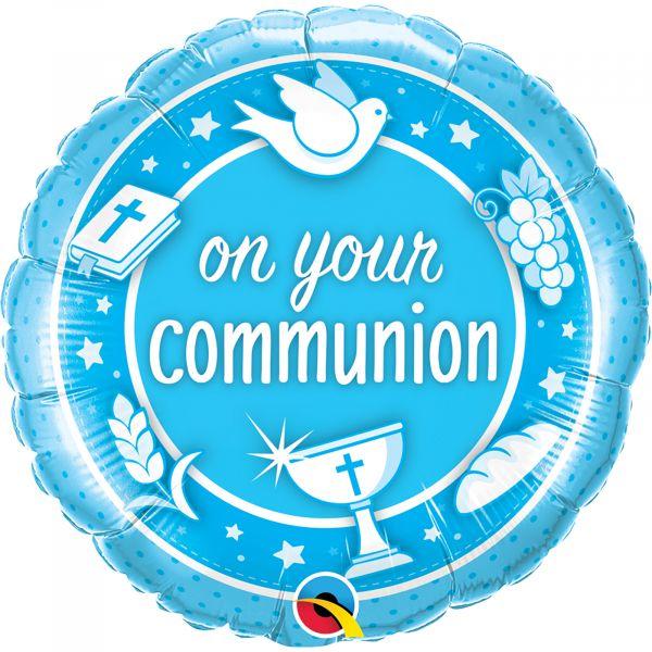 On Your Communion Blue Balloon