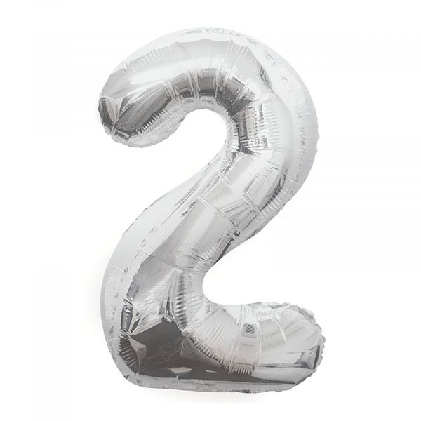 Number 2 Foil Balloon, Silver, 34 inches