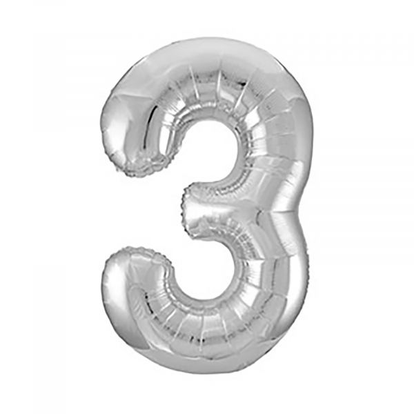 Number 3 Foil Balloon, Silver, 34 inches