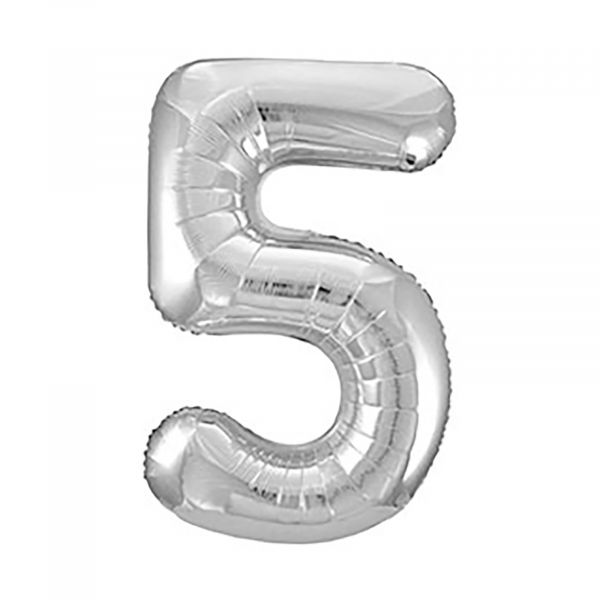 Number 5 Foil Balloon, Silver, 34 inches