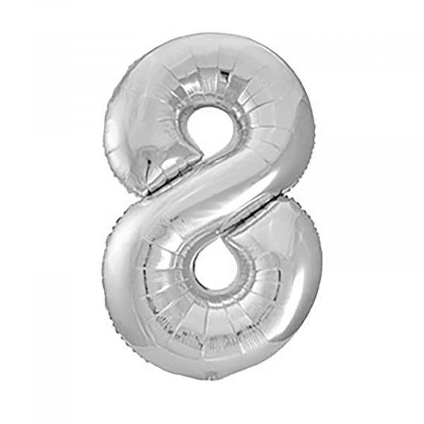 Number 8 Foil Balloon, Silver, 34 inches