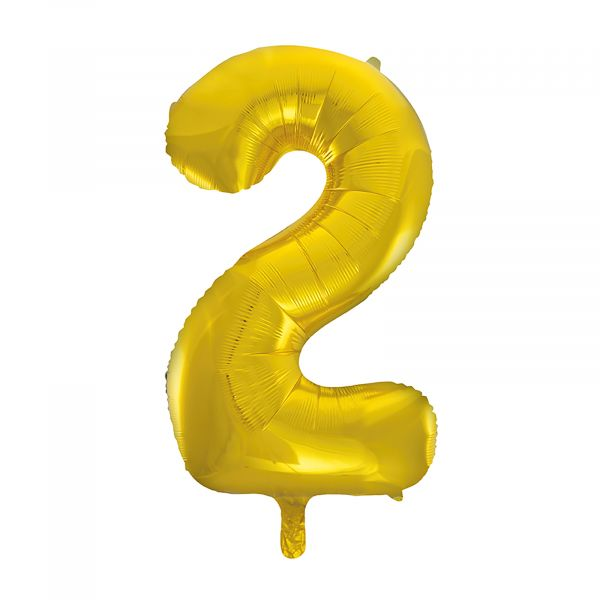 Number 2 Foil Balloon, Gold, 34 inches