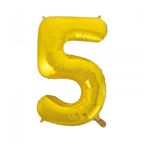 Number 5 Foil Balloon, Gold, 34 inches