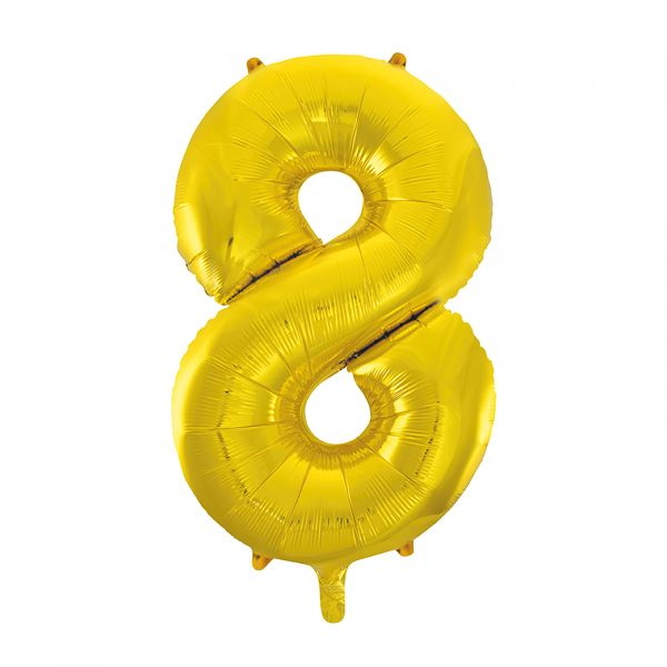 Number 8 Foil Balloon, Gold, 34 inches