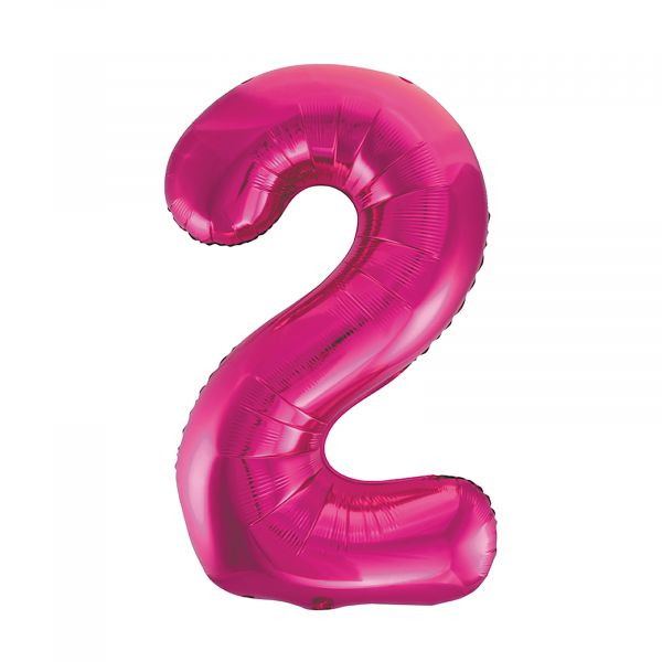 Number 2 Foil Balloon, Pink, 34 inches