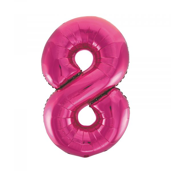 Number 8 Foil Balloon, Pink, 34 inches