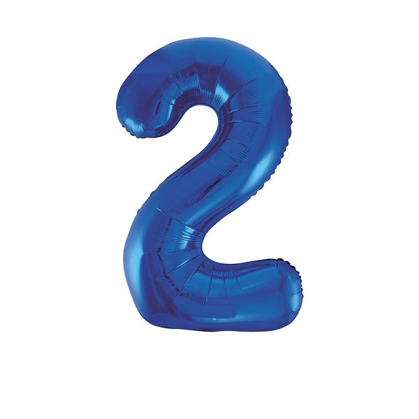 Number 2 Foil Balloon, Blue, 34 inches