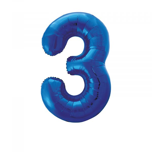 Number 3 Foil Balloon, Blue, 34 inches
