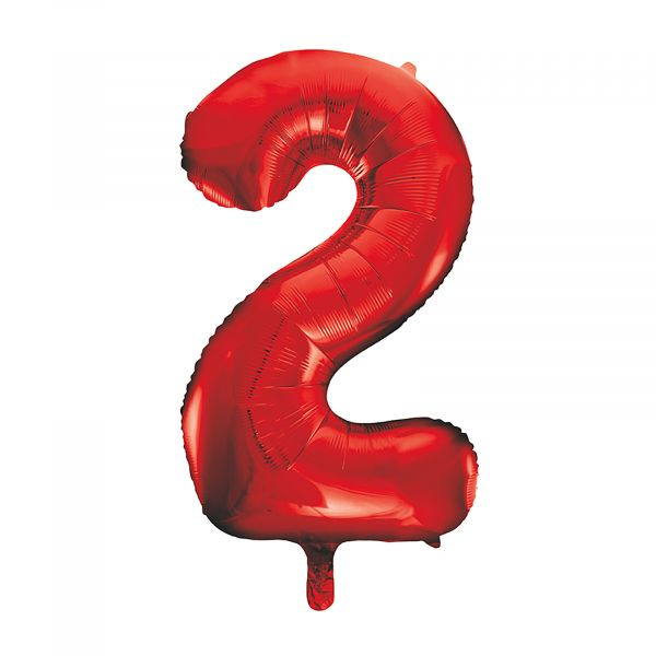 Number 2 Foil Balloon, Red, 34 inches