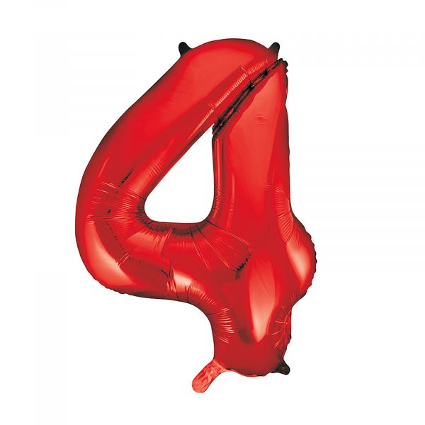 Number 4 Foil Balloon, Red, 34 inches
