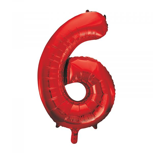 Number 6 Foil Balloon, Red, 34 inches