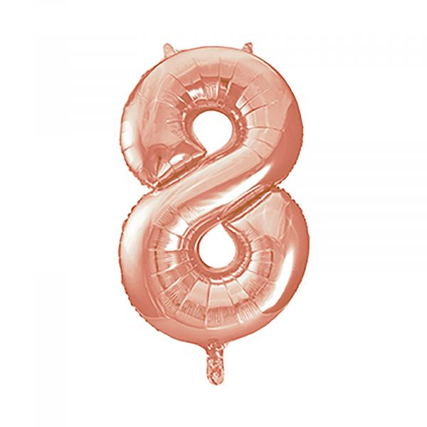 Number 8 Foil Balloon, Rose Gold, 34 inches