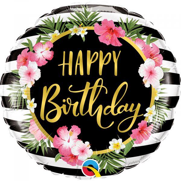 Birthday Hibiscus Stripes Balloon