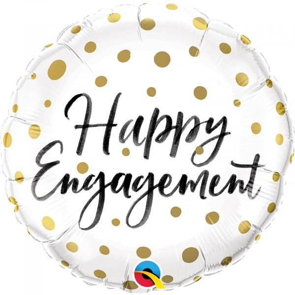 Happy Engagement Gold Dots Balloon