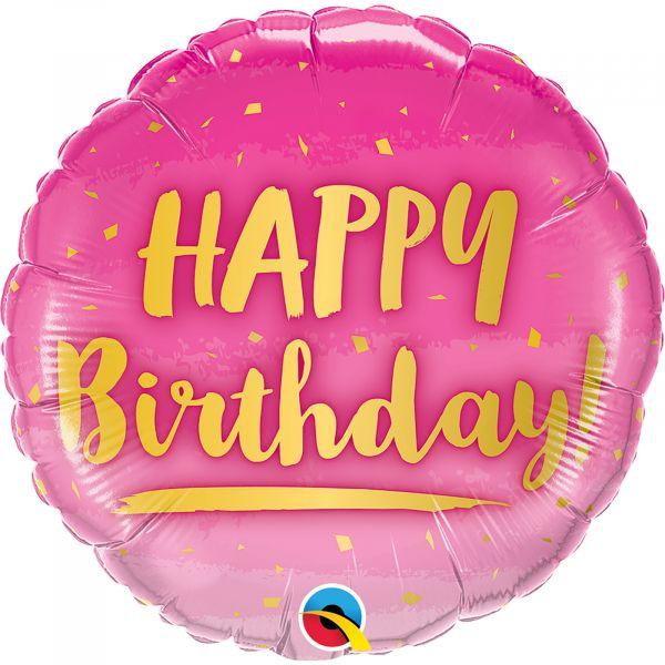 Birthday Gold & Pink Balloon