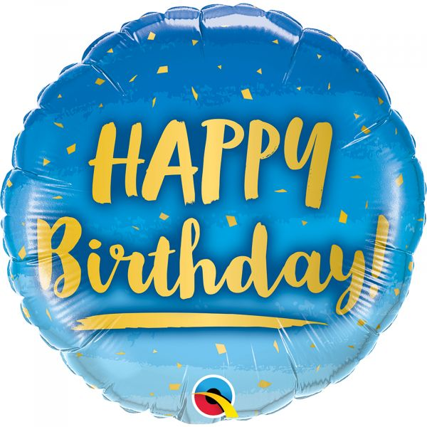Birthday Gold & Blue Balloon