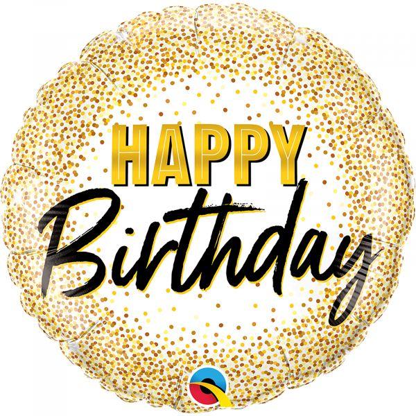 Birthday Gold Glitter Dots Balloon