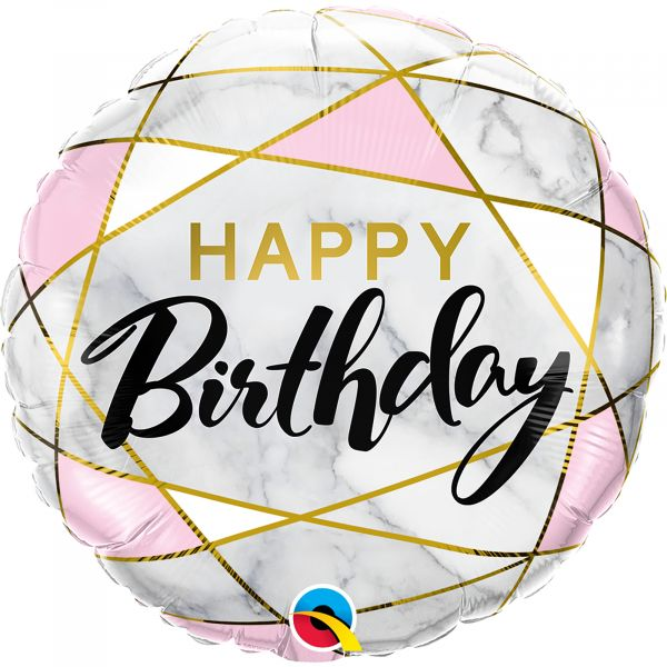 Birthday Marble Rectangles Balloon
