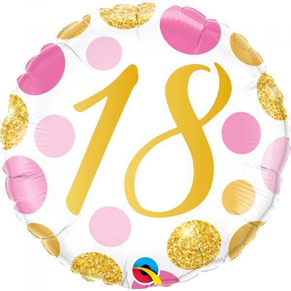 Age 18 Pink & Gold Dots Balloon