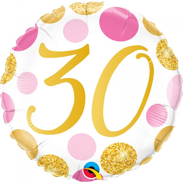 Age 30 Pink & Gold Dots Balloon
