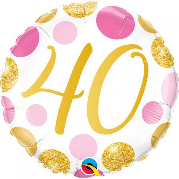Age 40 Pink & Gold Dots Balloon