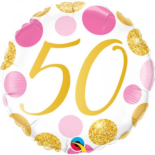 Age 50 Pink & Gold Dots Balloon