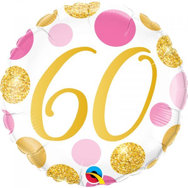 Age 60 Pink & Gold Dots Balloon