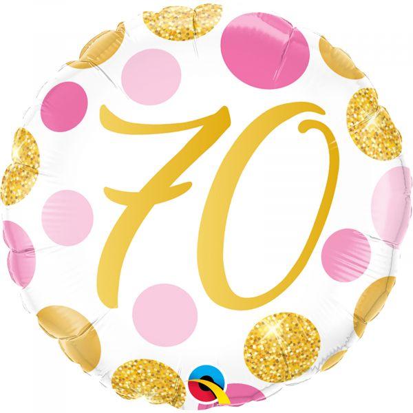 Age70 Pink & Gold Dots Balloon