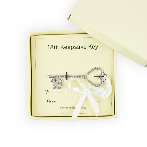 Age 18 Key Ornament with Crystals