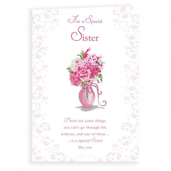 Birthday Card Sister, Flowers In Pink Vase